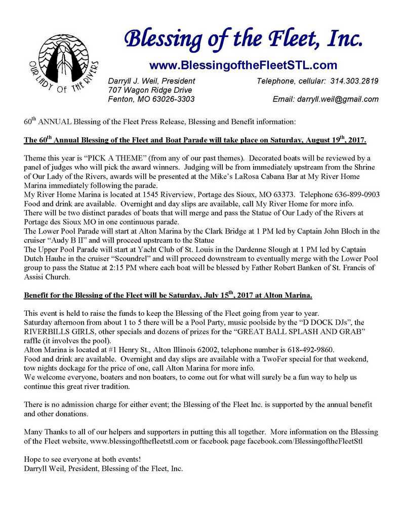 Blessing of the Fleet press release
